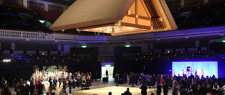 Reception in a traditional Japanese atmosphere – a sumo stadium