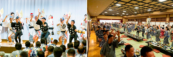 Incentive trip participants united in the exciting Awaodori dance
